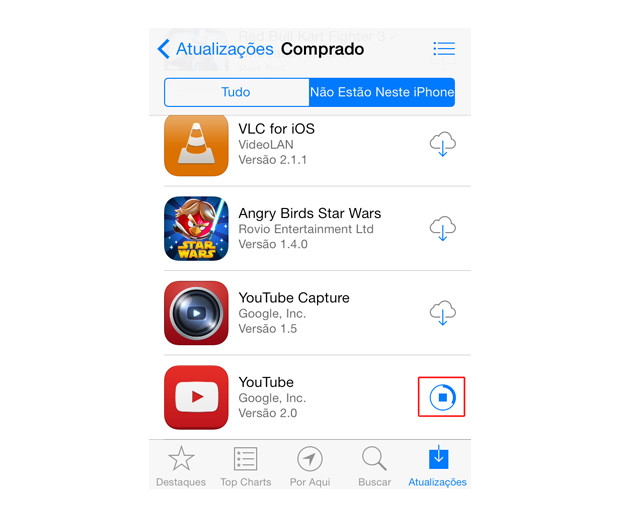 Baixando um aplicativo do iCloud para o iOS 7 (Foto: Reprodução/Marvin Costa)