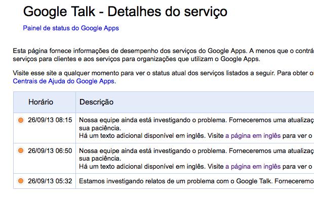 Gtalk está com problemas de acesso e envia mensagens para desconhecidos (Foto: Reprodução/Google)