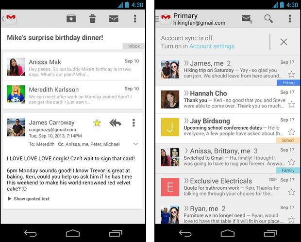 A versão 4.6 do app Gmail para Android traz uma interface moderna e arrojada (Foto: Divulgação/Google)