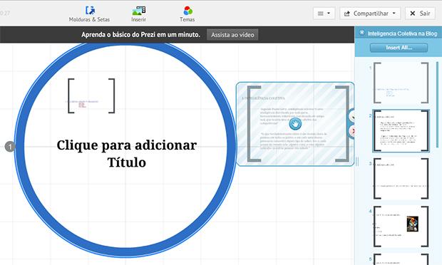Clique e arraste para a tela os slides que você quer importar (Foto: Reprodução/Prezi)