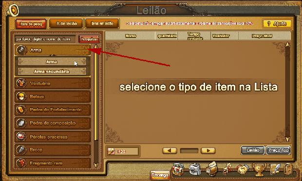 Escolha o item que deseja comprar no leilão (Foto: Reprodução / TechTudo)