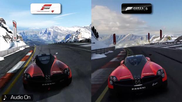 Comparação em vídeo coloca Forza Motorsport 5 (direita) contra Forza 4 (esquerda) (Foto: Reprodução)