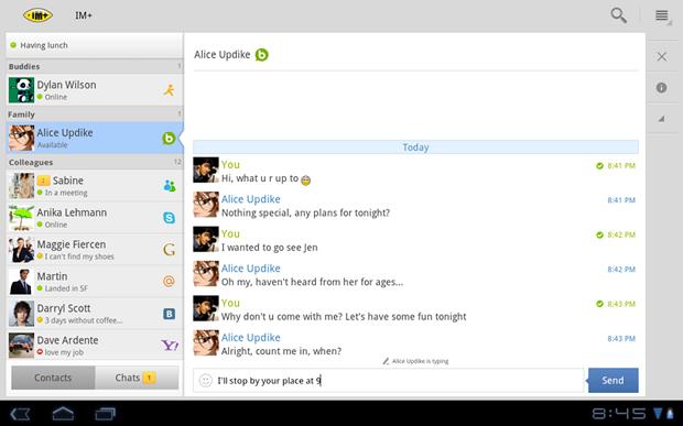 IM+ é um mensageiro instantâneo que integra integrar os chats do Facebook, Google Hangouts, Skype entre outros (Foto: Divulgação)
