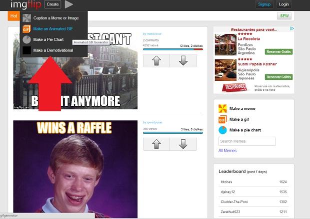 Imgflip.com permite desenhar em vez de usar foto no meme (Foto: Reprodução/Internet)