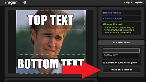 Imgur.com edita fotos e gera memes  (Foto: Reprodução/Internet)