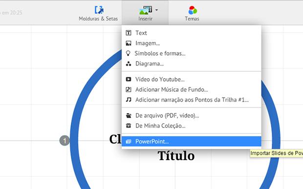 No menu 'Inserir' há uma opção específica para importação de arquivos PowerPoint (Foto: Reprodução/Prezi)