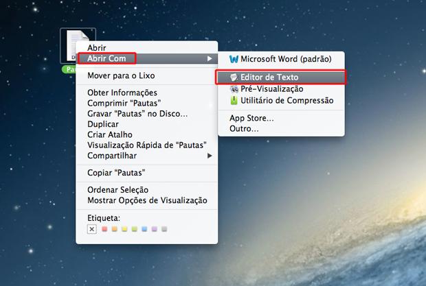 Abrindo o arquivo de texto com o editor de texto do Mac OS (Foto: Reprodução/Marvin Costa)