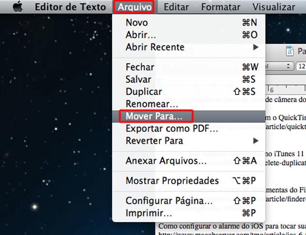 Movendo o arquivo de texto para o iCloud no Mac OS (Foto: Reprodução/Marvin Costa)