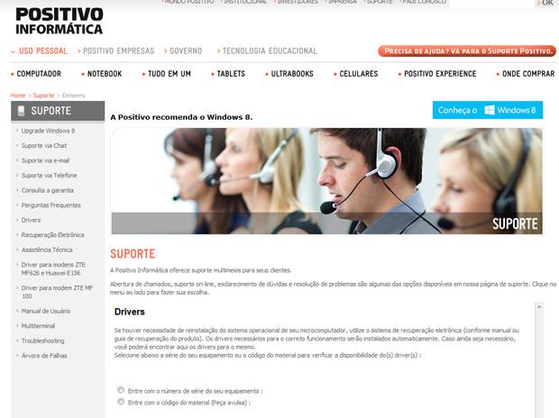 Para baixar os drivers adequados para seus notebooks da Positivo, acesse o site da fabricante (Foto: Reprodução/TechTudo)