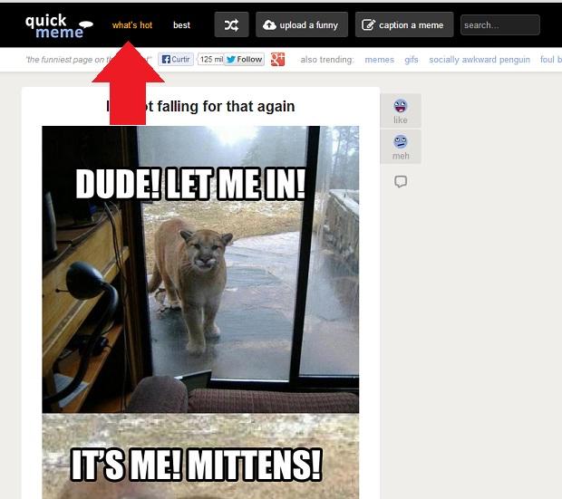 Quickmeme mostra memes mais populares para ajudar a criar (Foto: Reprodução/Internet)