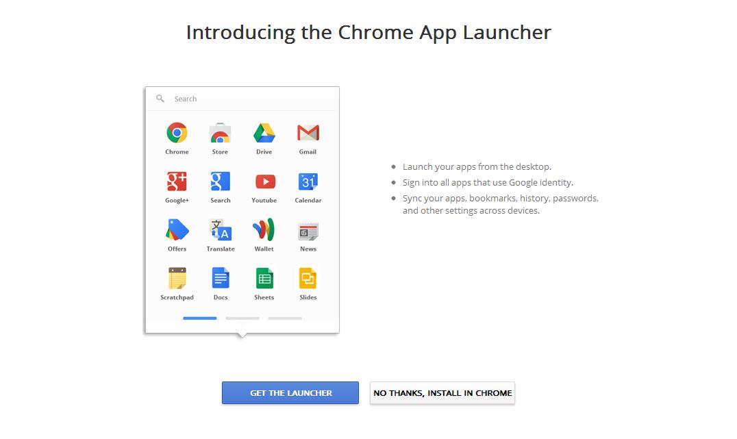 Chrome App Launcher reúne aplicativos Google e pode ser instalado no Mac e no Windows (Foto: Reprodução/Internet)