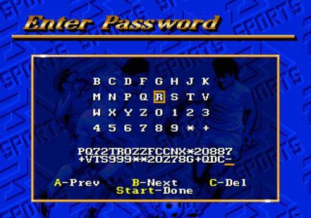 FIFA Soccer, do Mega Drive, duelava com ISSS Deluxe também na chatisse dos passwords (Foto: Reprodução)