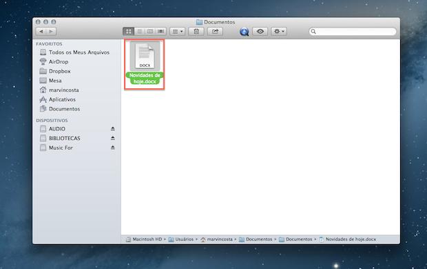 Selecione o arquivo que deseja compartilhar com o Mac OS (Foto: Reprodução/Marvin Costa)