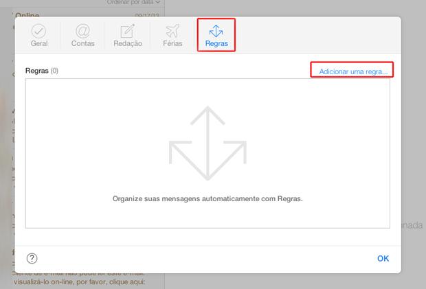 Criando uma nova regra para caixa de e-mails do iCloud (Foto: Reprodução/Marvin Costa)