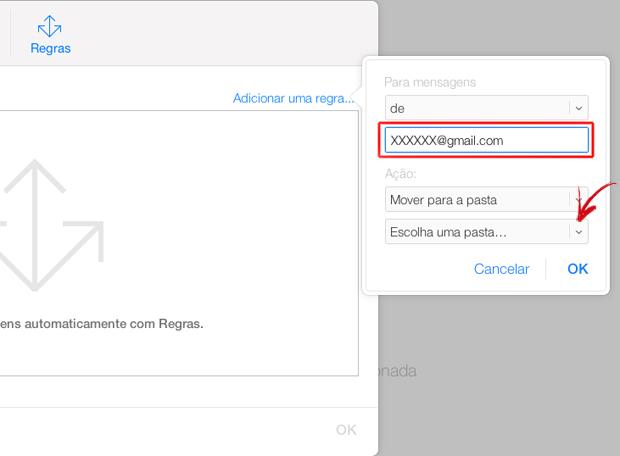 Adicionando um endereço de e-mail para nova regra do iCloud (Foto: Reprodução/Marvin Costa)