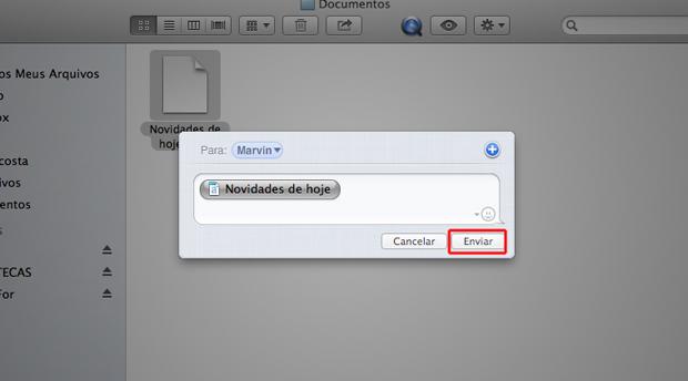 Enviando o arquivo via iMessage (Foto: Reprodução/Marvin Costa)