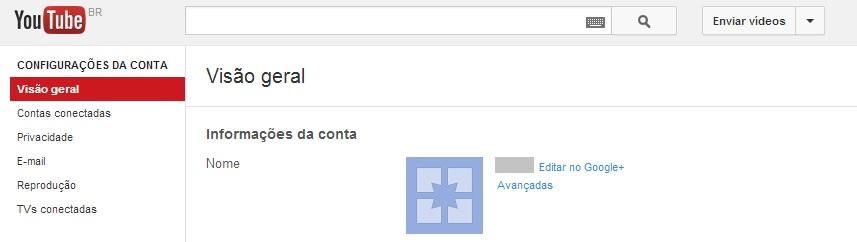 Acessando as configurações da conta do YouTube (Foto: Reprodução/Carolina Ribeiro)