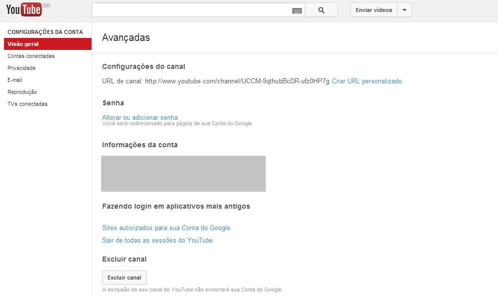 Excluindo canal de vídeos do YouTube (Foto: Reprodução/Carolina Ribeiro)