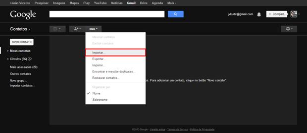 Como transferir contatos entre contas do Gmail (foto: Reprodução/João Kurtz)