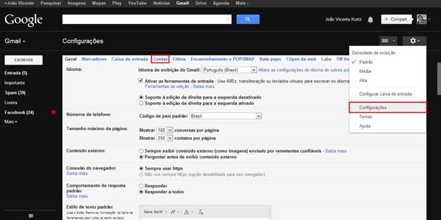 Como alterar o nome de exibição no Gmail (foto: Reprodução/João Kurtz)
