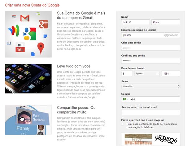 Como criar uma nova conta no Gmail (foto: Reprodução/João Kurtz)