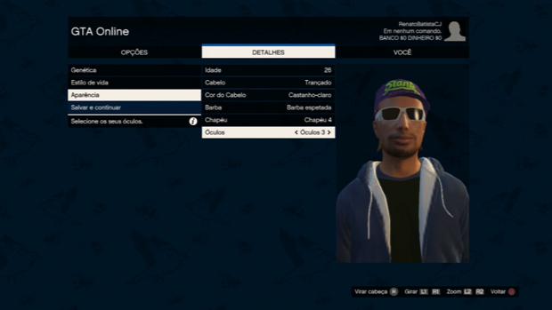 É possível personalizar seu personagem em GTA Online (Foto: Reprodução / TechTudo)