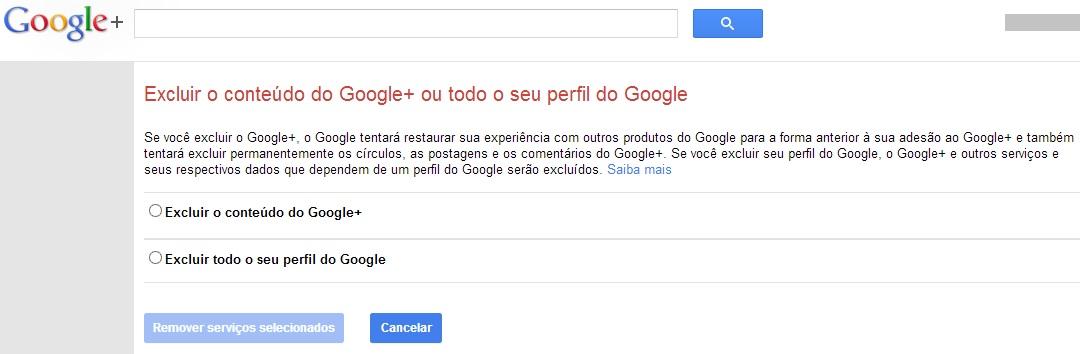 Selecionando a opção de excluir o conteúdo do Google+ (Foto: Reprodução/Carolina Ribeiro)