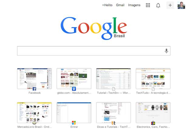 Nova página de nova guia do Chrome (Foto: Reprodução/Helito Bijora)