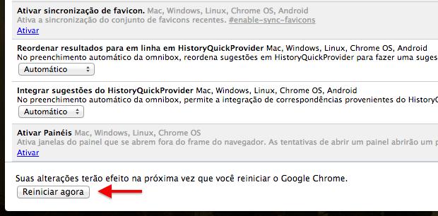 Reinicie o Chrome para aplicar as alterações (Foto: Reprodução/Helito Bijora)