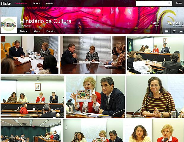 Órgãos do governo brasileiro como o Ministério da Cultura utilizam a galeria do Flickr para armazenar imagens de autoridades e das atividades desenvolvidas   pela pasta (Foto: Reprodução/Karla Soares)