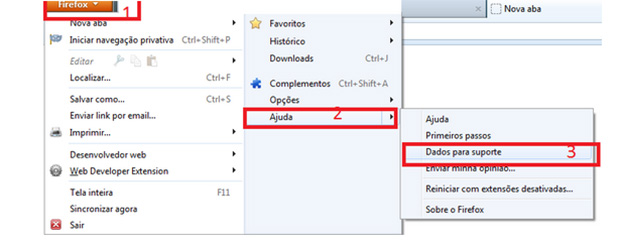 Para restaurar seu Firefox, clique em Ajuda e depois e Dados para suporte (Foto: Reprodução/Mozilla)