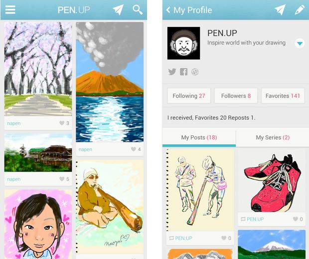 Pen.Up é uma rede social estilo Instagram para compartilhamento de desenhos criados com a S Pen (Foto: Divulgação/Samsung)