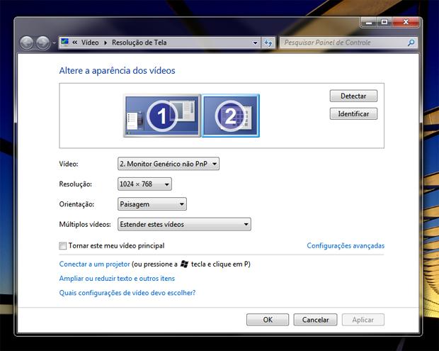 Configurando o segundo monitor (Foto: Reprodução/Teresa Furtado)