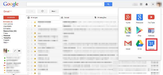 Atalho para a Agenda do Google (Foto: Reprodução/Lívia Dâmaso)