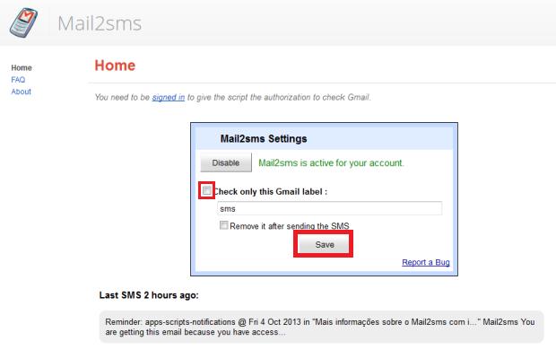 Habilitação do Mail2sms (Foto: Reprodução/Lívia Dâmaso)