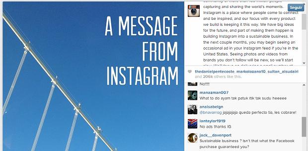 Instagram revelou que terá anúncios e usuários não gostaram (Foto: Reprodução)