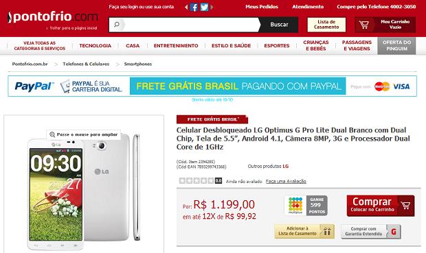 Ponto Frio está vendendo o aparelho (Foto: Reprodução/Ponto Frio)