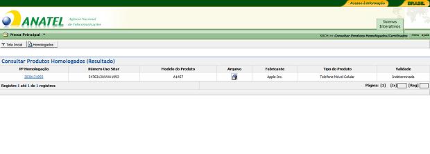 Anatel anunciou homologação no site (Foto: Reprodução)