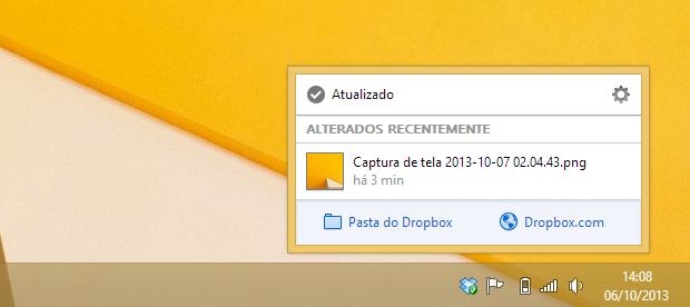 Menu do Dropbox (Foto: Reprodução/Helito Bijora)