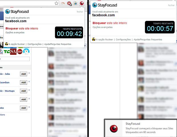 O relógio do StayFocusd é o item essencial para evitar o desperdício de tempo. São 10 minutos para acessar o site que quiser. Antes do término do período   estabelecido um pop-up te avisa que a hora da brincadeira já vai acabar (Foto: Reprodução/Karla Soares)