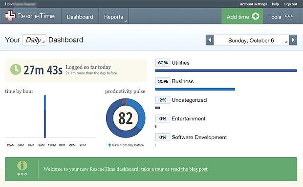 O painel de controle traz gráficos com dados do uso da máquina. Mostra quando tempo você fica conectado, qual a porcentagem de atividades e distrações e a   produtividade do dia (Foto: Reprodução/Karla Soares)