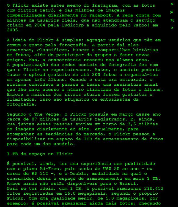 """Apostando na ideia """"eu e meu texto"""", o Dark Room se resume a uma tela preta e fonte de sistema verde para evitar que o usuário caia nas distrações do mundo virtual (Foto: Reprodução/ Karla Freire)"""