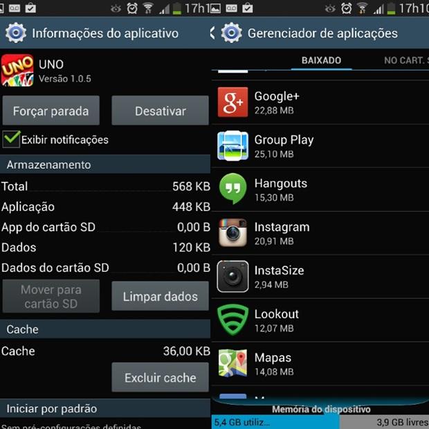Informações do aplicativo Uno à esquerda e gerenciador de aplicações à direita (Foto: Reprodução/Carolina Ribeiro)