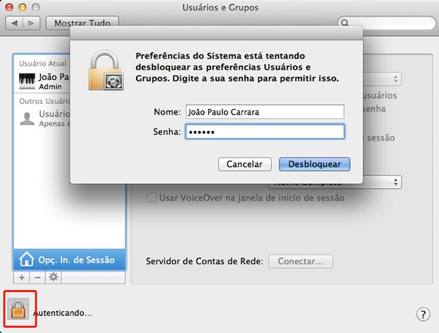 Habilite as edições das preferências clicando no ícone do cadeado (Foto: Reprodução)