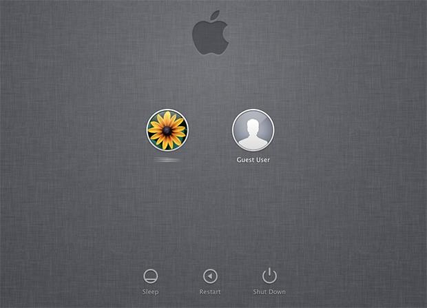 Tela inicial padrão do Mac OS exibe as contas disponíveis para login (Foto: Reprodução)