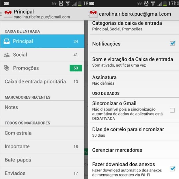 Menu do Gmail à esquerda e configurações de alertas do correio eletrônico à direita (Foto: Reprodução/Carolina Ribeiro)