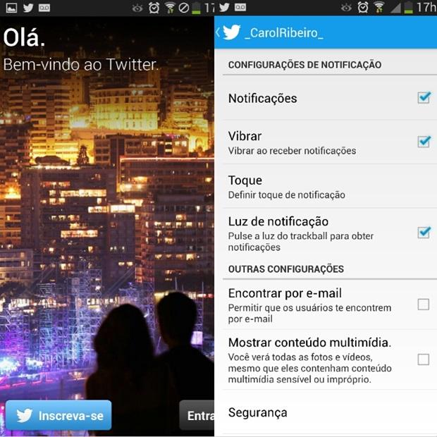 Página de boas-vindas do Twitter à esquerda e notificações da rede social à direita (Foto: Reprodução/Carolina Ribeiro)