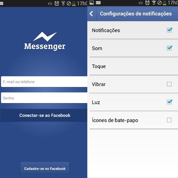 Página inicial do Facebook Messenger à esquerda e as configurações dos alertas do chat à direita (Foto:  Reprodução/Carolina Ribeiro)