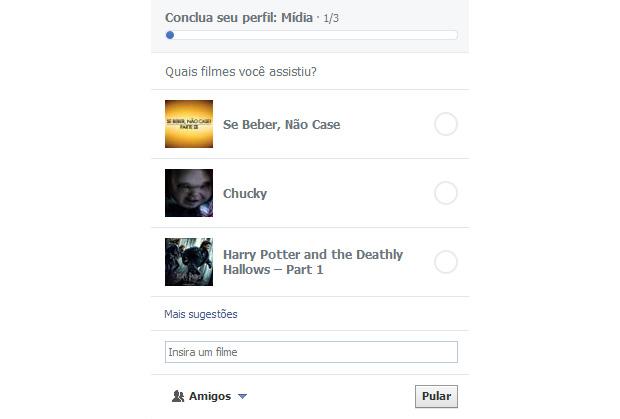 Para saber o máximo possível sobre você, Facebook pede sempre para concluir o perfil (Foto: Reprodução/Paulo Alves)