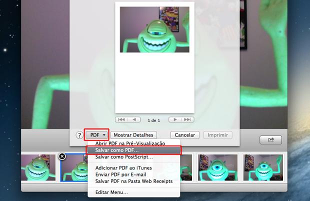 Escolhendo a opção para salvar a foto em PDF no Photo Both do Mac OS (Foto: Reprodução/Marvin Costa)